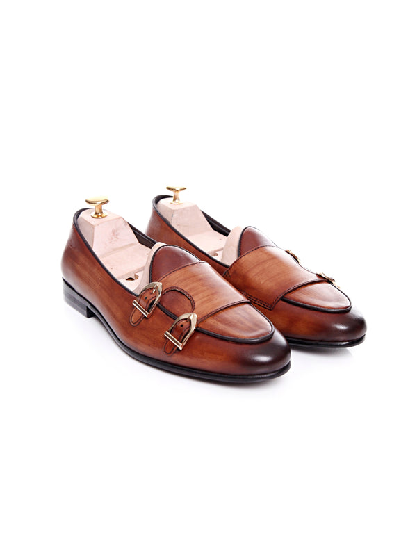 Women Belgian Loafer in Cognac Tan Double Monk Strap