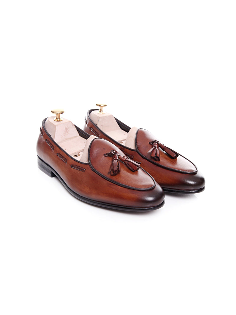 Women Belgian Loafer in Cognac Tan With Tassel