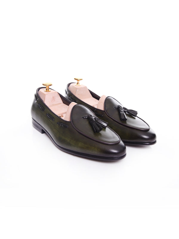 Women Belgian Loafer in Dark Green With Tassel