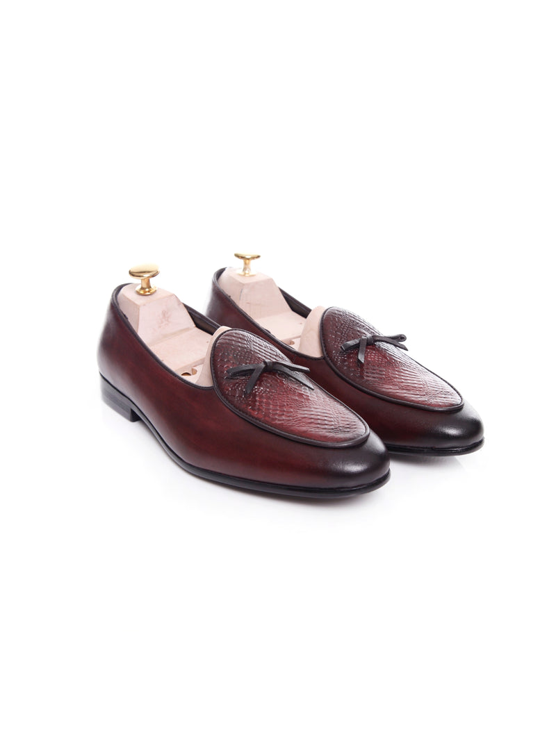 Women Belgian Loafer in Red Burgundy Snake Skin With Ribbon