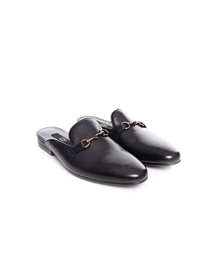 Women Mules in Black Leather Brass Horsebit