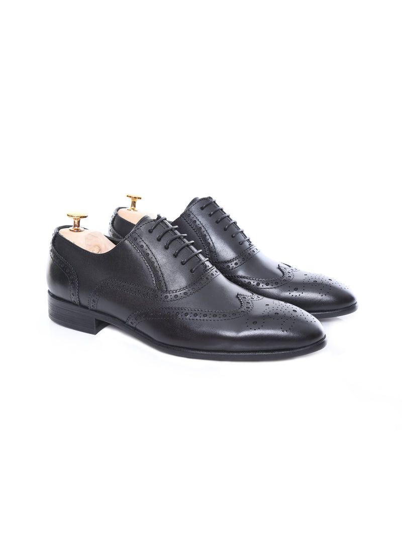 Oxford Brogue Wingtip - Black Leather Lace Up