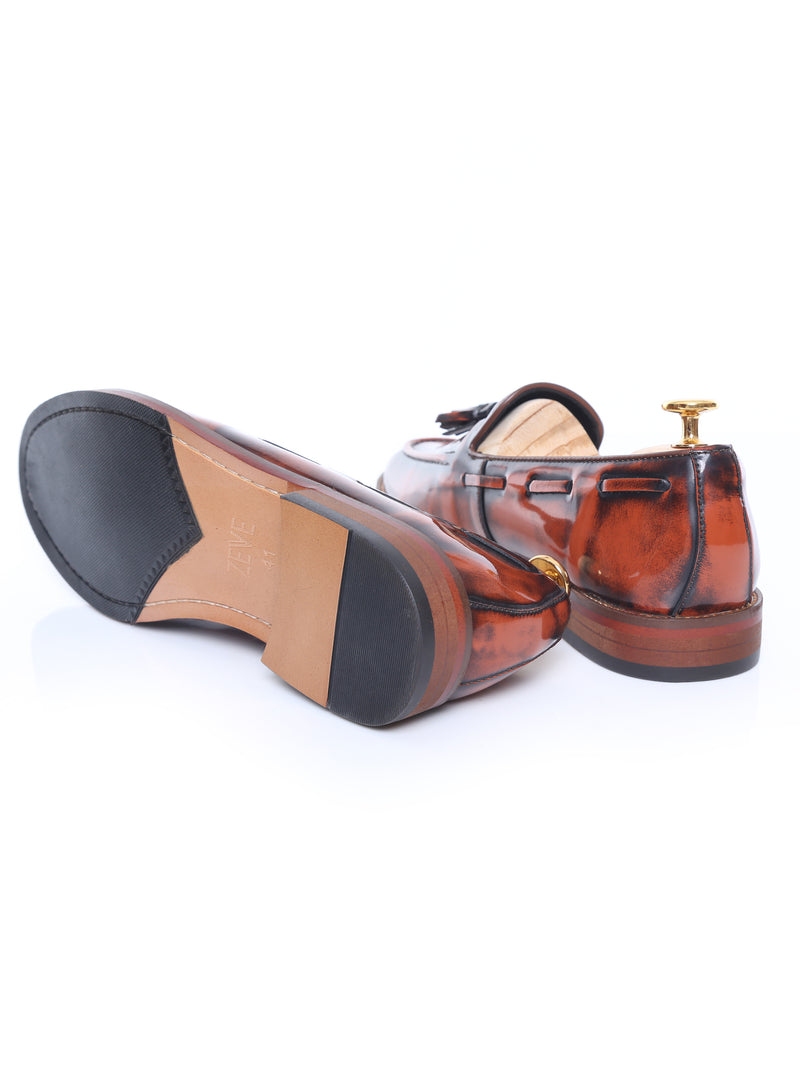 Tassel Loafer - Tan Polished Leather