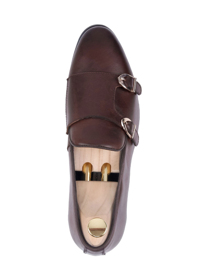 Loafer Slipper Double Monk - Coffee Leather
