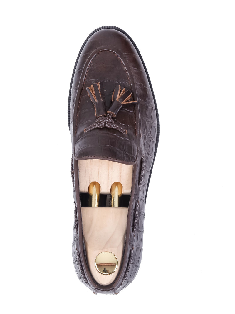 Tassel Loafer - Coffee Crocodile Leather (Crepe Sole)