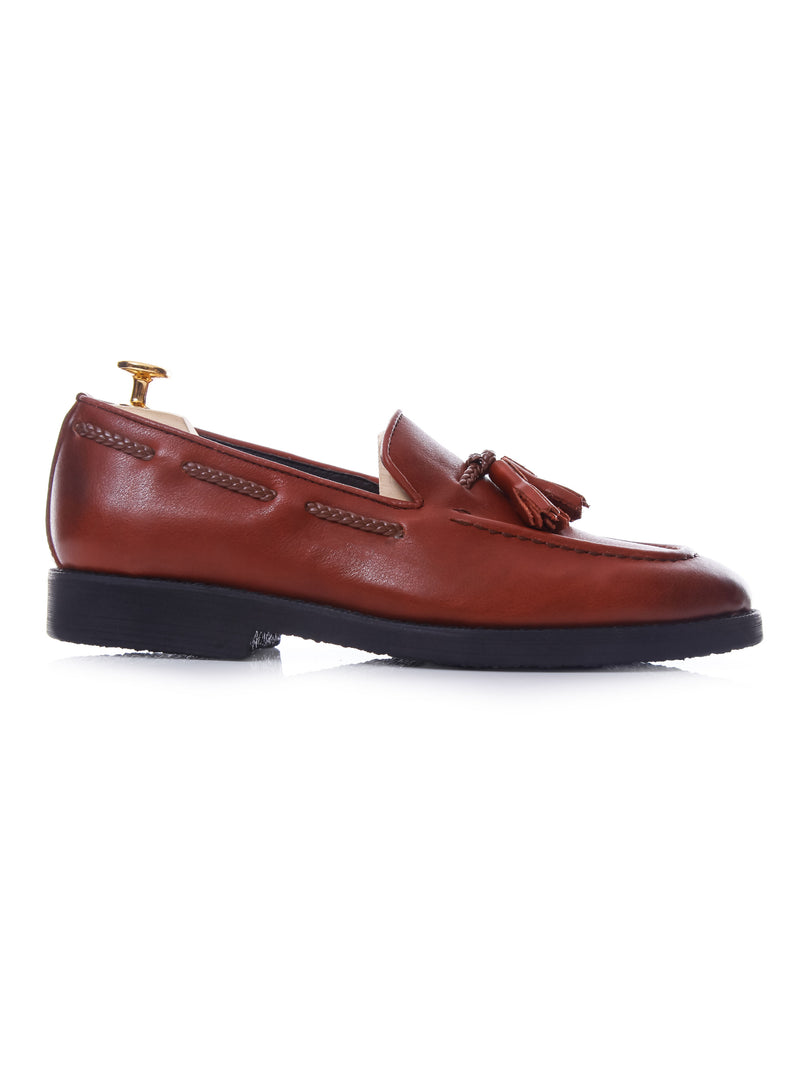 Tassel Loafer - Brick Red Leather (Crepe Sole)