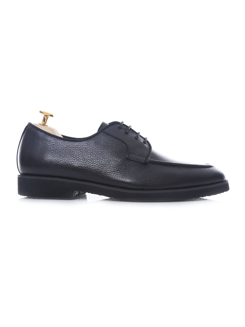 Blucher Lace Up - Black Pebble Grain Leather (Crepe Sole)