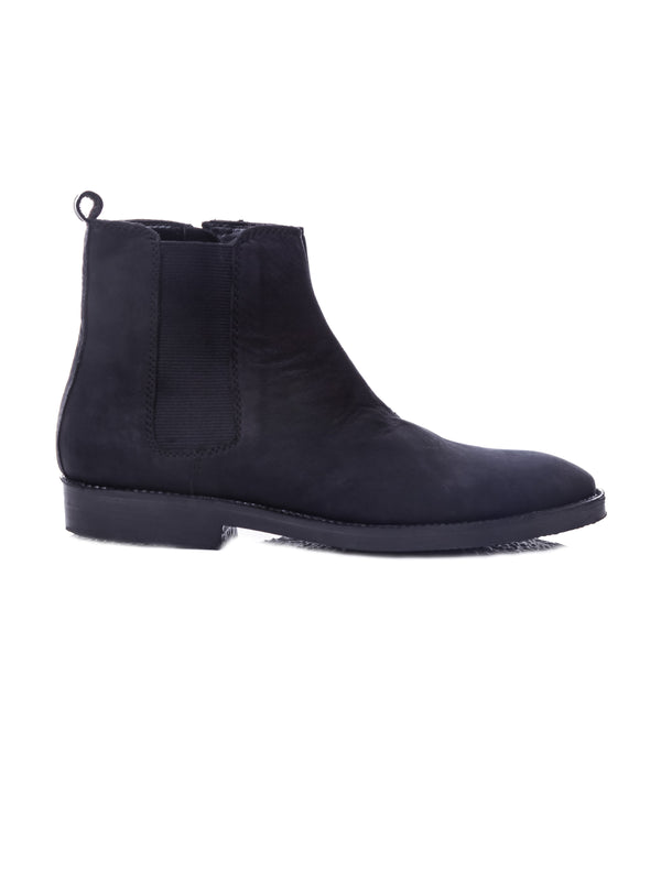 Chelsea Boots With Zipper - Black Nubuck Leather (Crepe Sole)