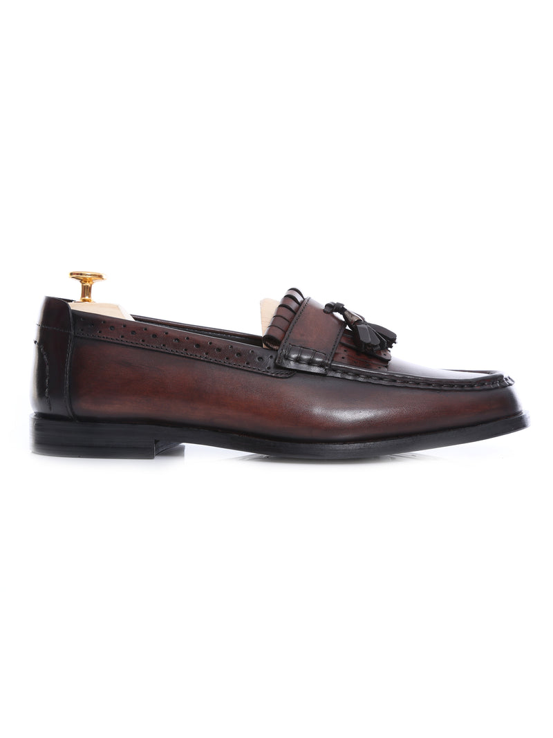 Fringe Classic Loafer - Dark Brown with Tassel (Hand Painted Patina)