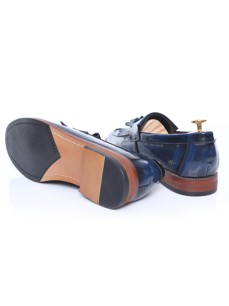 Fringe Loafer - Blue Polished Leather
