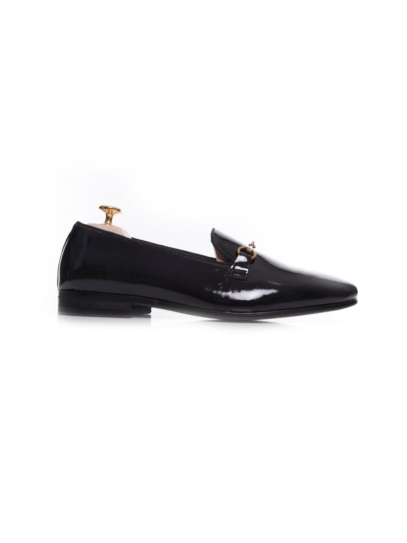 Women Loafer Slipper in Black Patent Leather Brass Horsebit