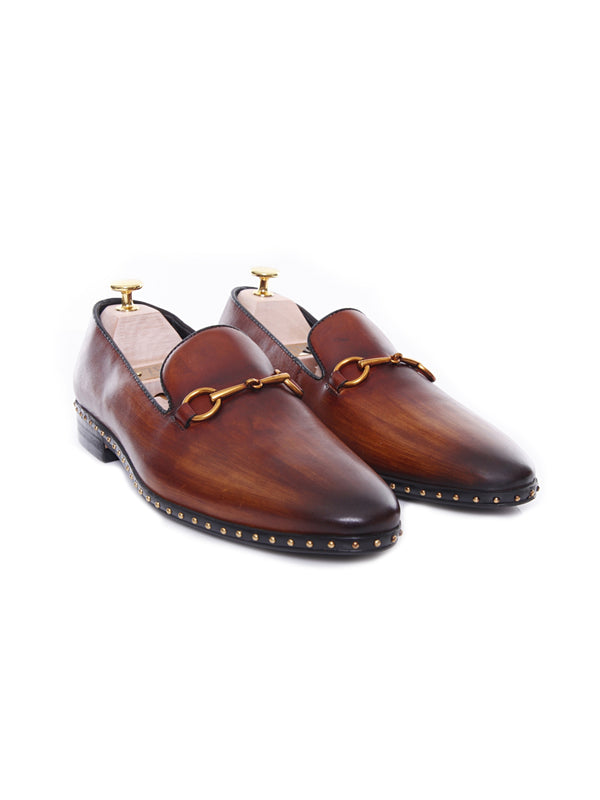 Loafer Slipper - Cognac Tan Leather Brass Horsebit Buckle With Studded Trim (Hand Painted Patina)