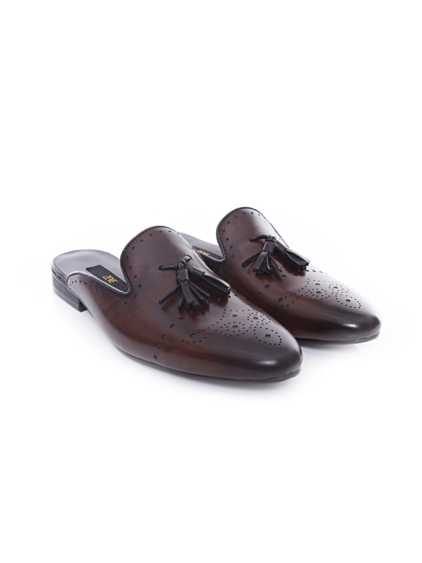 Mules - Dark Brown Perforated Brogue Tassel (Hand Painted Patina)