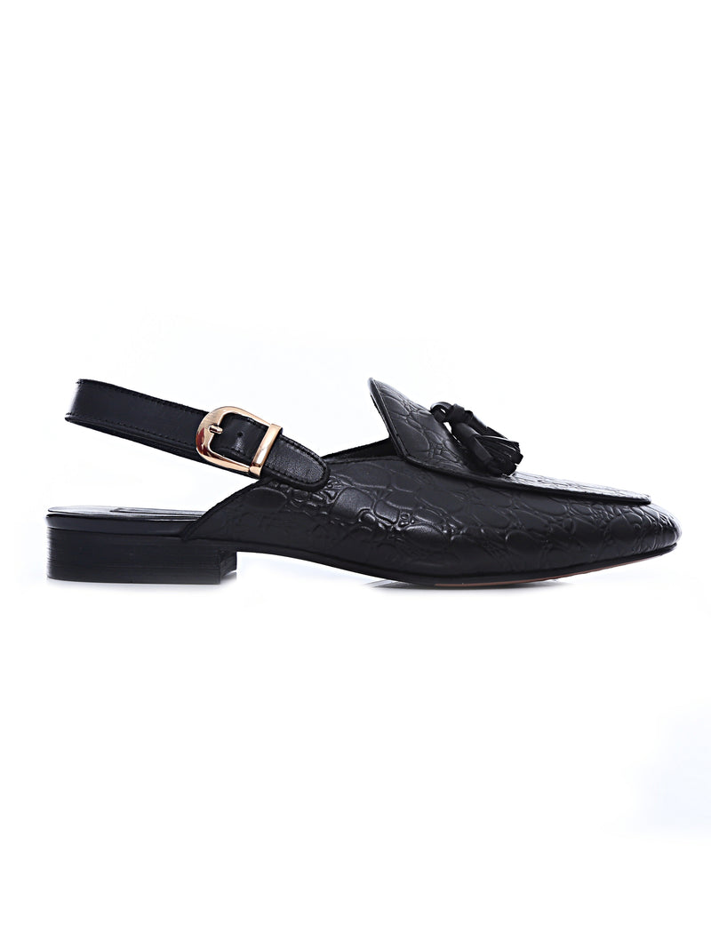 Mules Slingback Strap - Black Croco Leather with Tassel