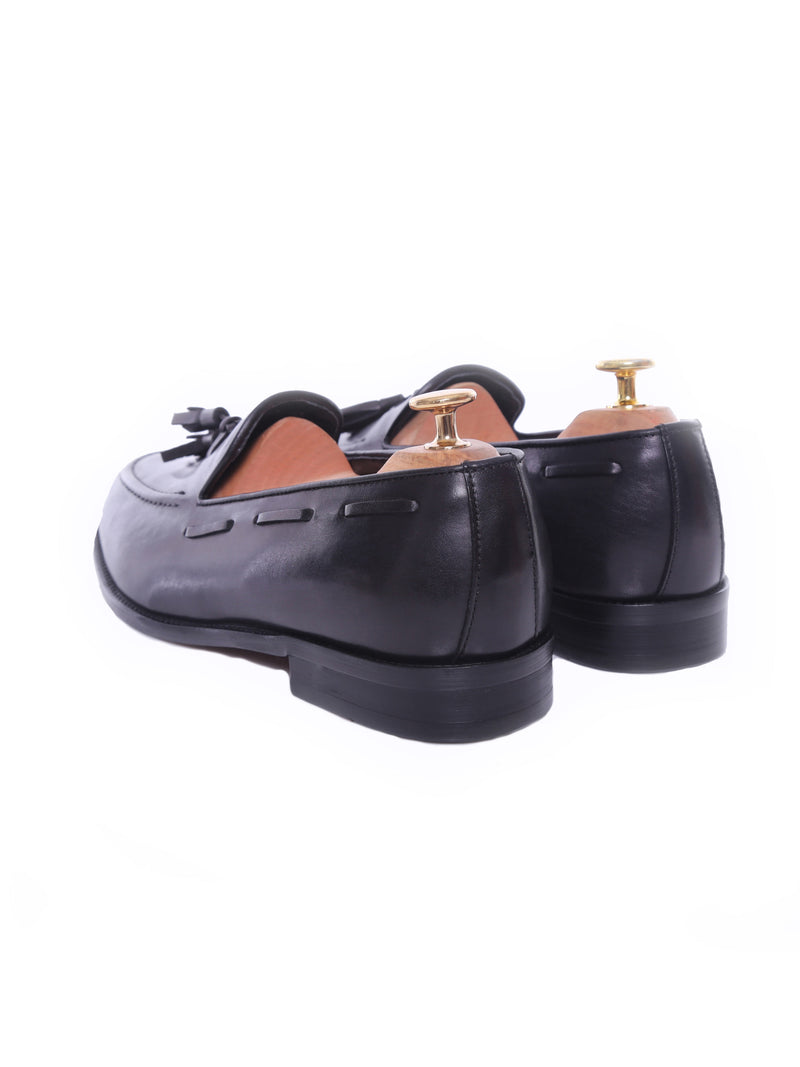 Tassel Loafer - Black Grey (Hand Painted Patina)