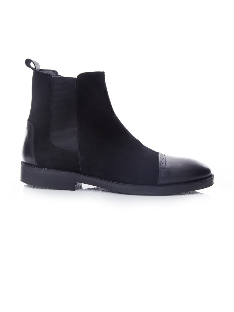 Chelsea Boots Cap Toe - Suede Black With Black Cap (Crepe Sole)