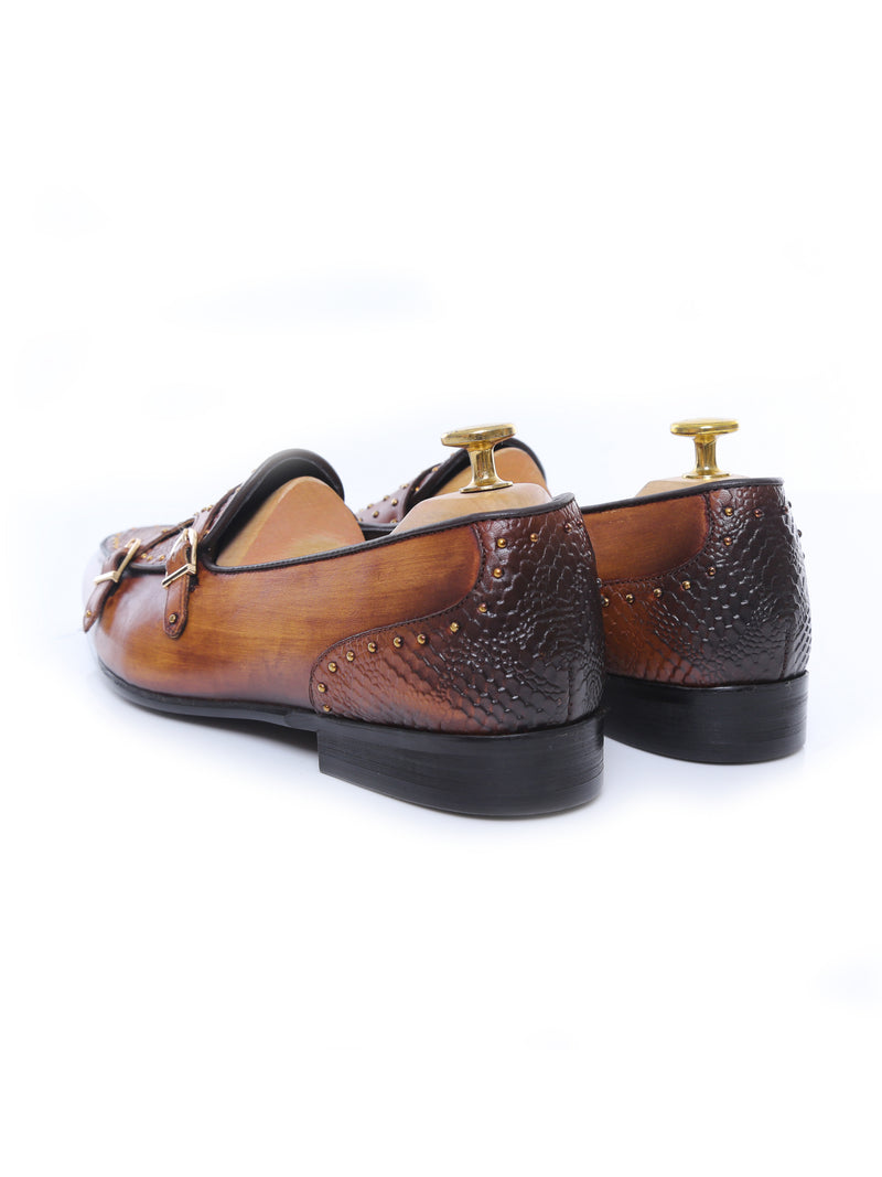 Belgian Loafer - Cognac Tan Snake Skin Double Monk Strap with Studded (Hand Painted Patina)
