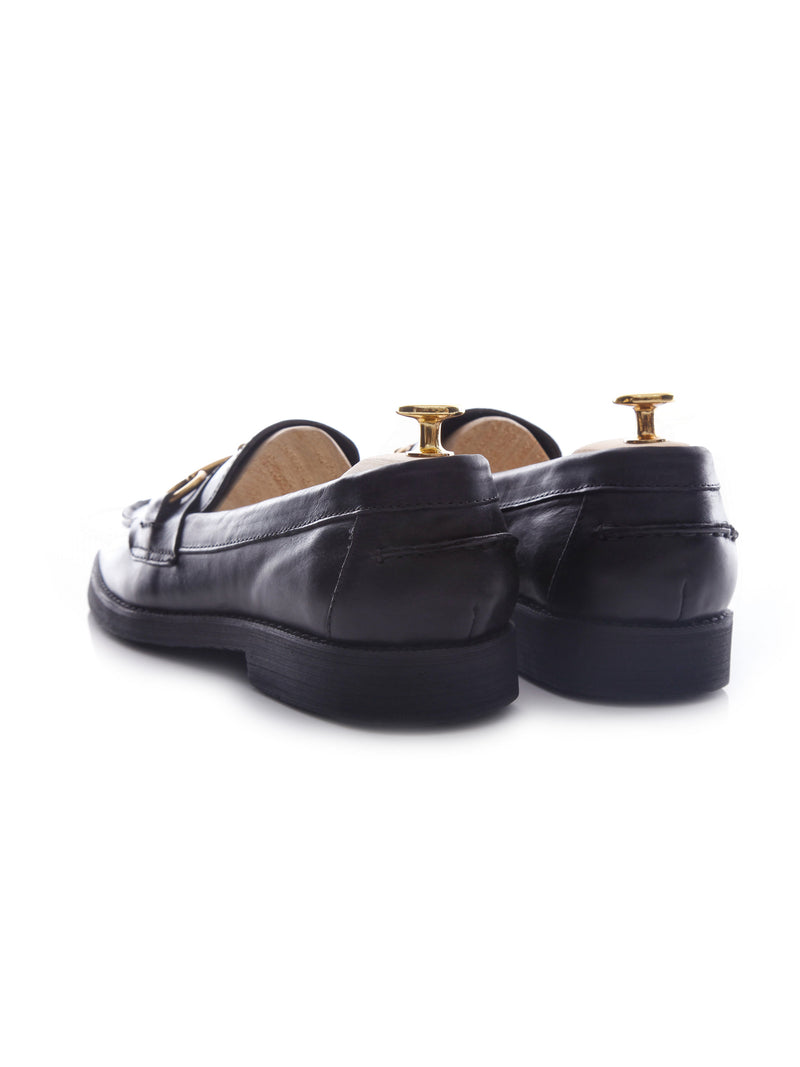 Penny Loafer Horsebit Buckle - Black Leather (Crepe Sole)
