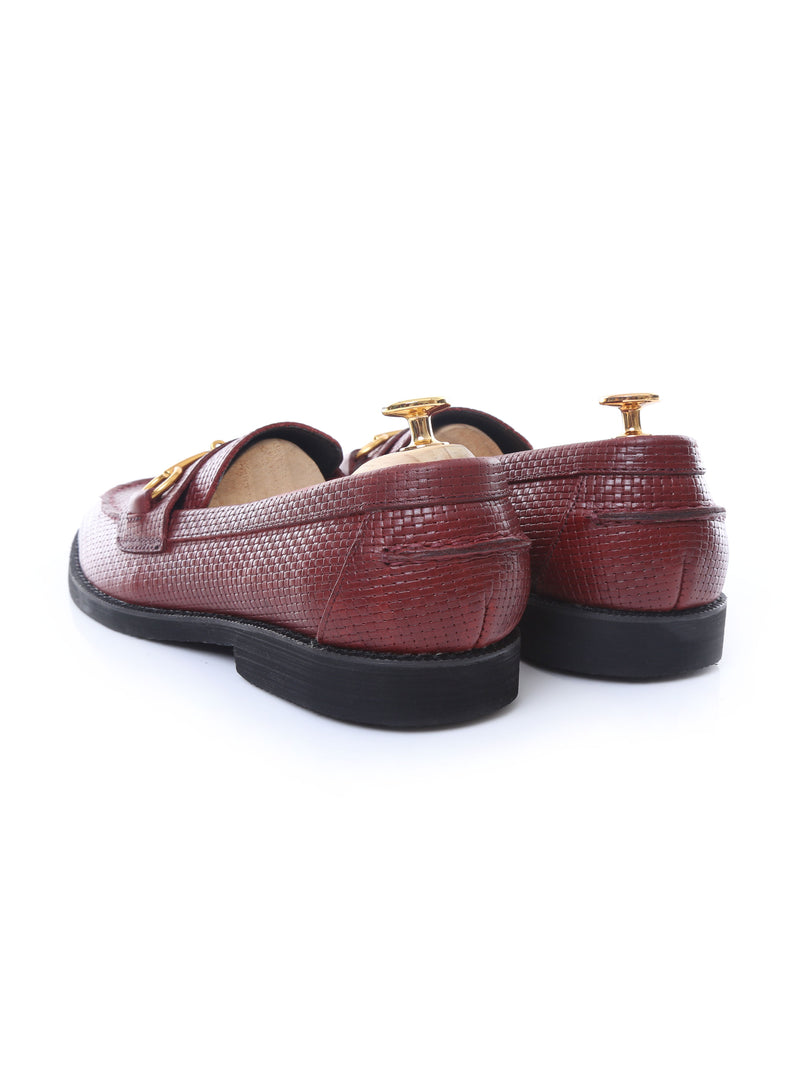 Penny Loafer Horsebit Buckle - Chestnut Brown Woven Leather (Crepe Sole)