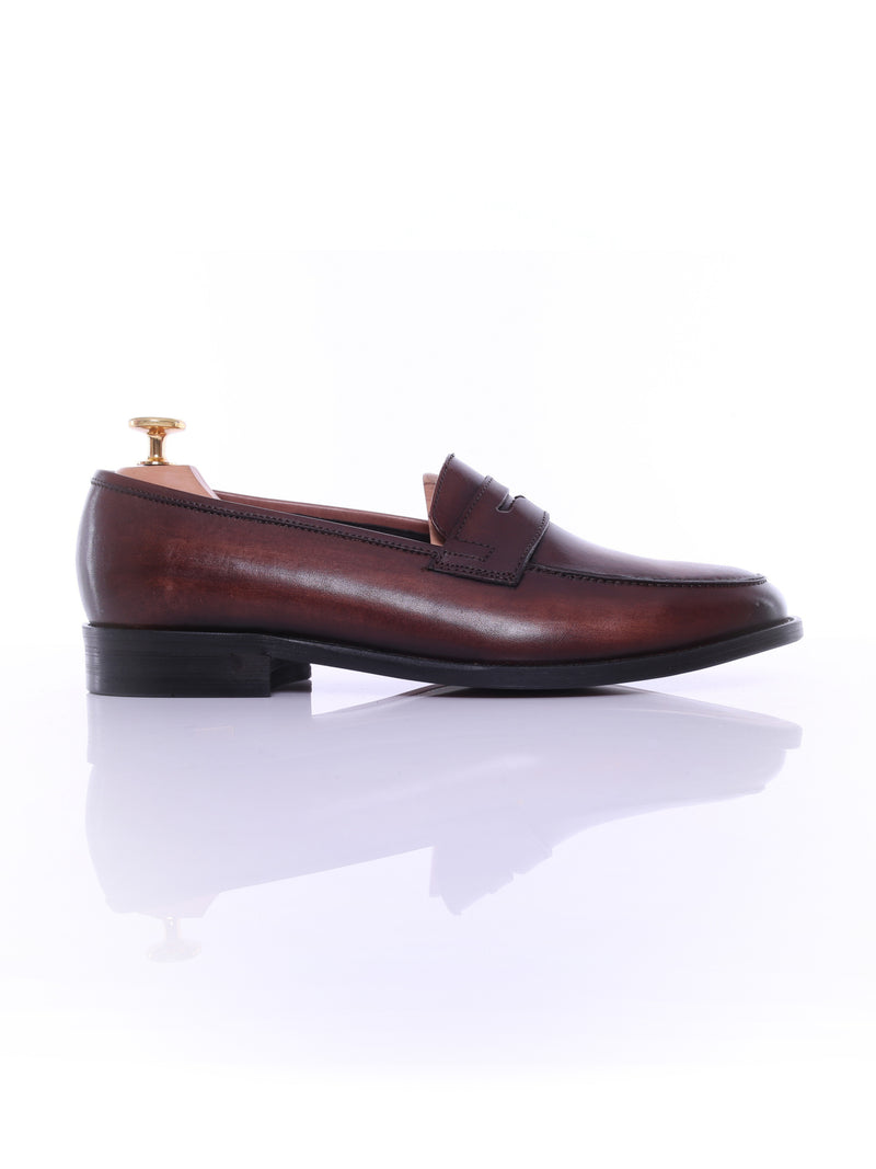 Penny Loafer - Dark Brown (Hand Painted Patina)