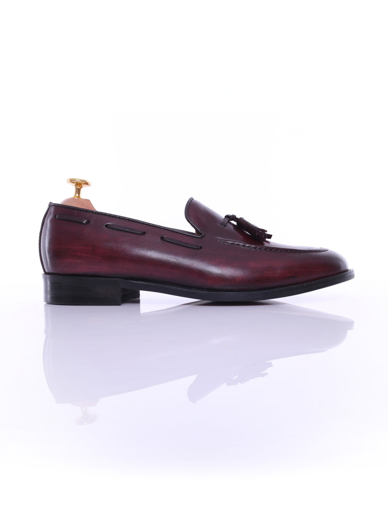 Tassel Loafer - Red Burgundy (Hand Painted Patina)