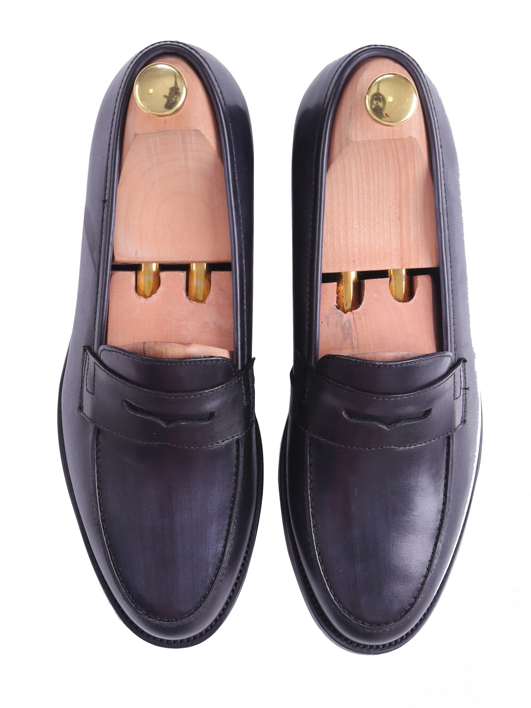 Penny Loafer - Black Grey (Hand Painted Patina)