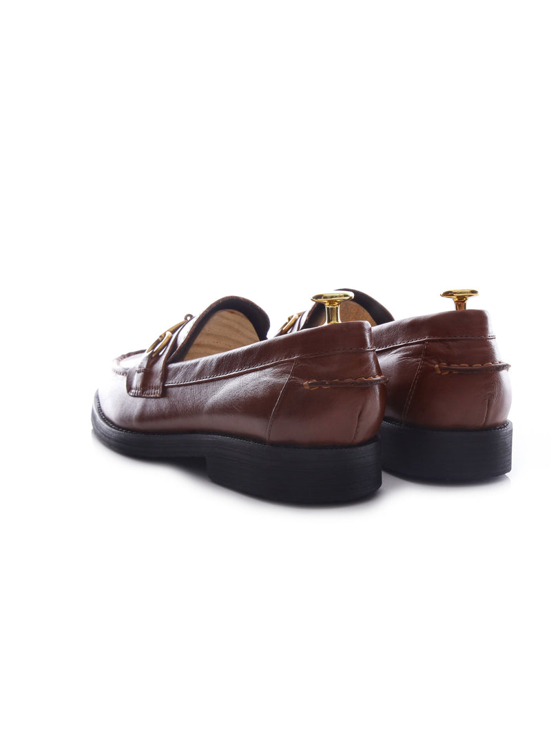 Penny Loafer Horsebit Buckle - Brown Leather (Crepe Sole)