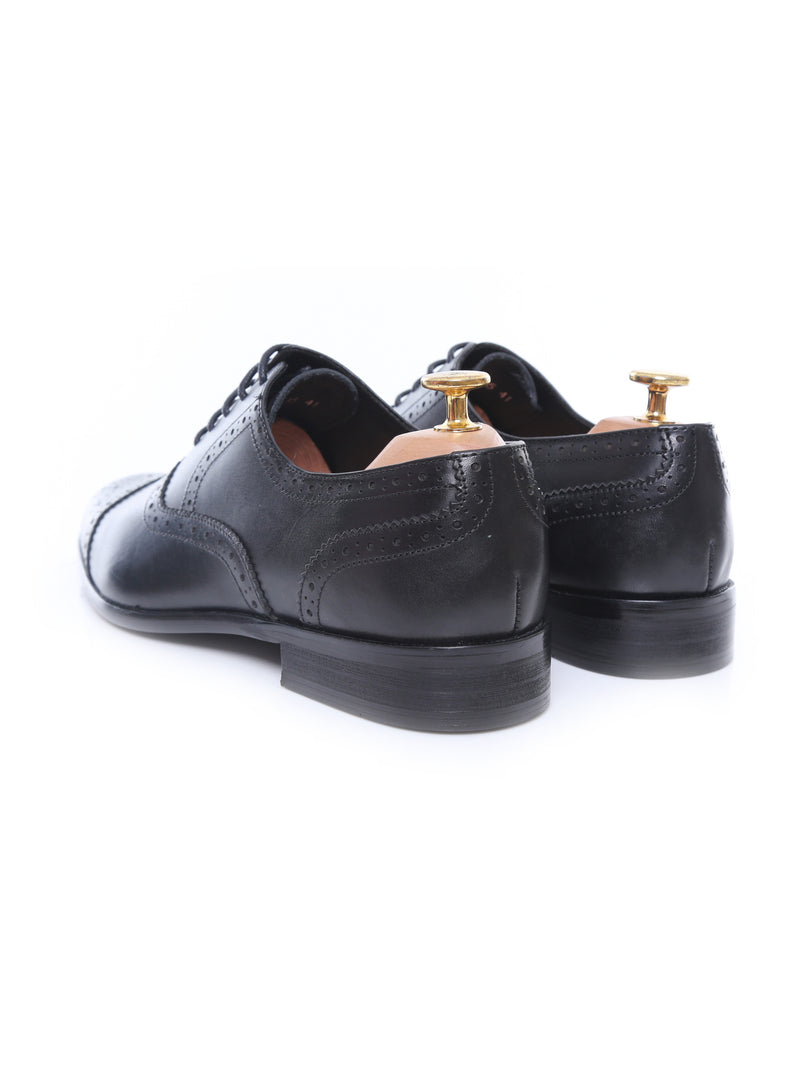 Oxford Cap Toe - Black Semi Brogue Lace Up