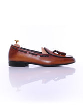 Belgian Loafer - Cognac Tan With Tassel  (Hand Painted Patina)