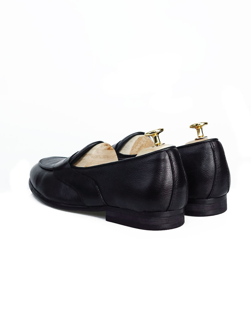Belgian Loafer With Penny - Black Pebble Grain Leather (Solid Black Strap)