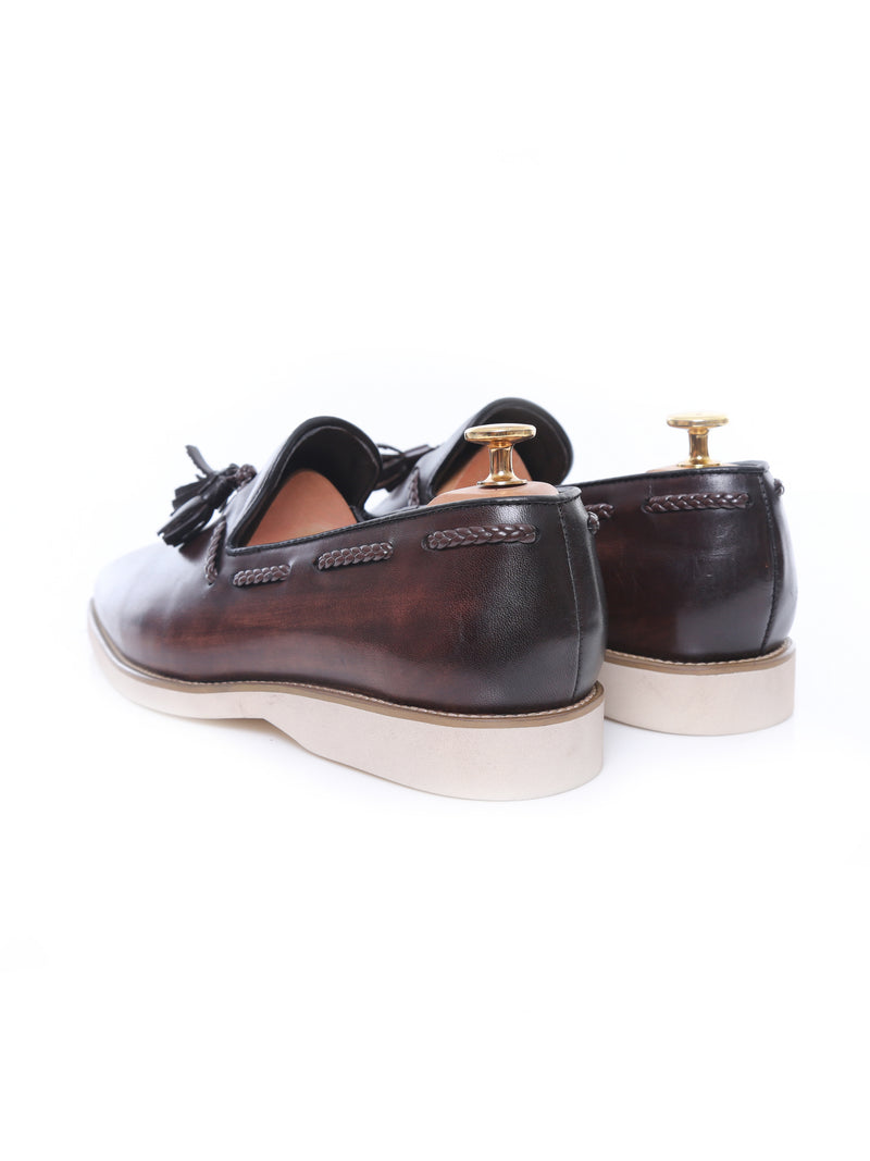 Platform Sneakers - Dark Brown Loafer Slipper with Tassel (Hand Painted Patina)