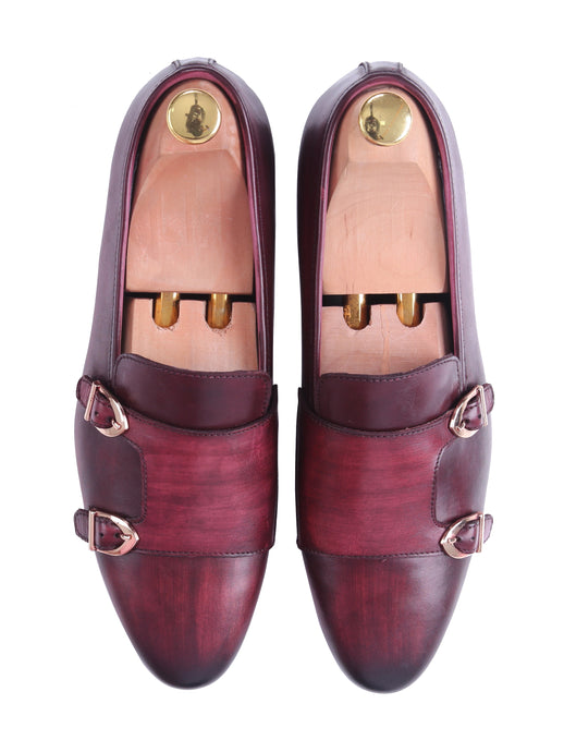 Loafer Slipper - Red Burgundy Double Monk Strap (Hand Painted Patina)