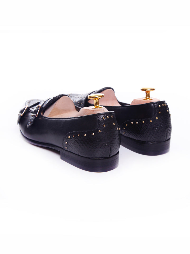Women Belgian Loafer in Black Snake Skin Double Monk Strap with Studs