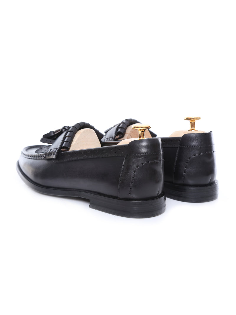 Fringe Classic Loafer - Black Grey with Tassel (Hand Painted Patina)