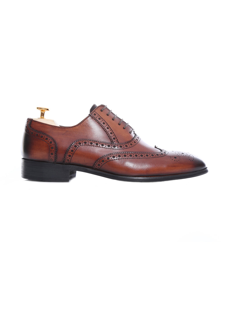 Oxford Brogue Wingtip - Cognac Tan Leather Lace Up (Hand Painted Patina)