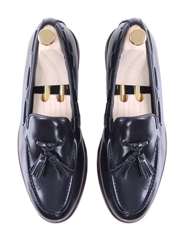 Tassel Loafer - Black Polished Leather