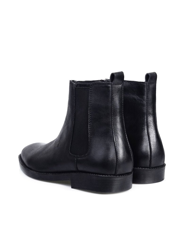 Chelsea Boots With Zipper - Solid Black Leather (Crepe Sole)