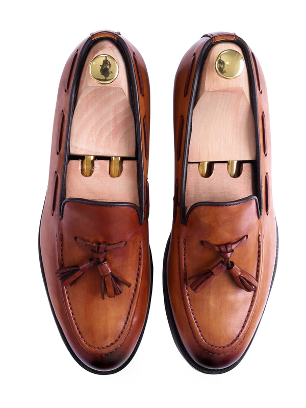 Tassel Loafer - Cognac Tan (Hand Painted Patina)