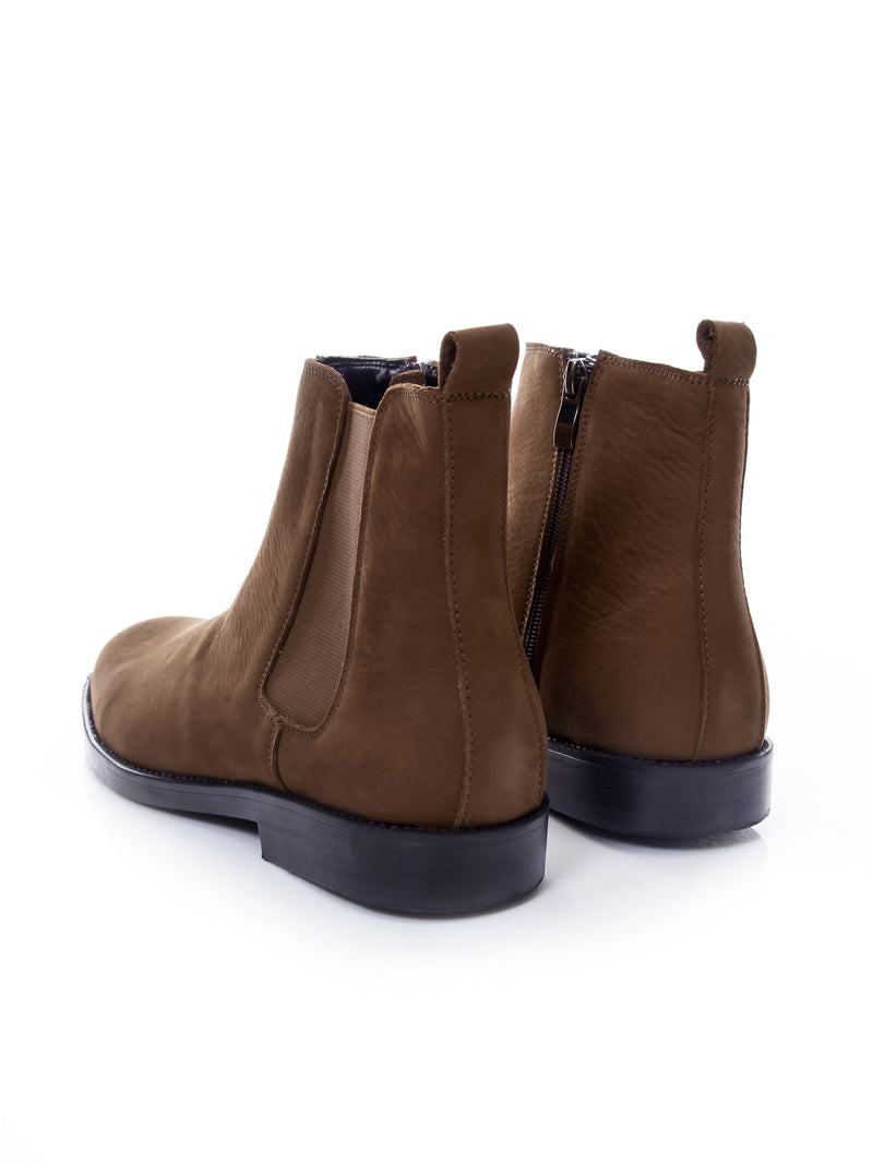 Chelsea Boots With Zipper - Brown Nubuck Leather (Crepe Sole)