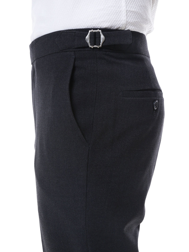 Trousers With Side Adjusters - Dark Grey Plain Cuffed (Stretchable)