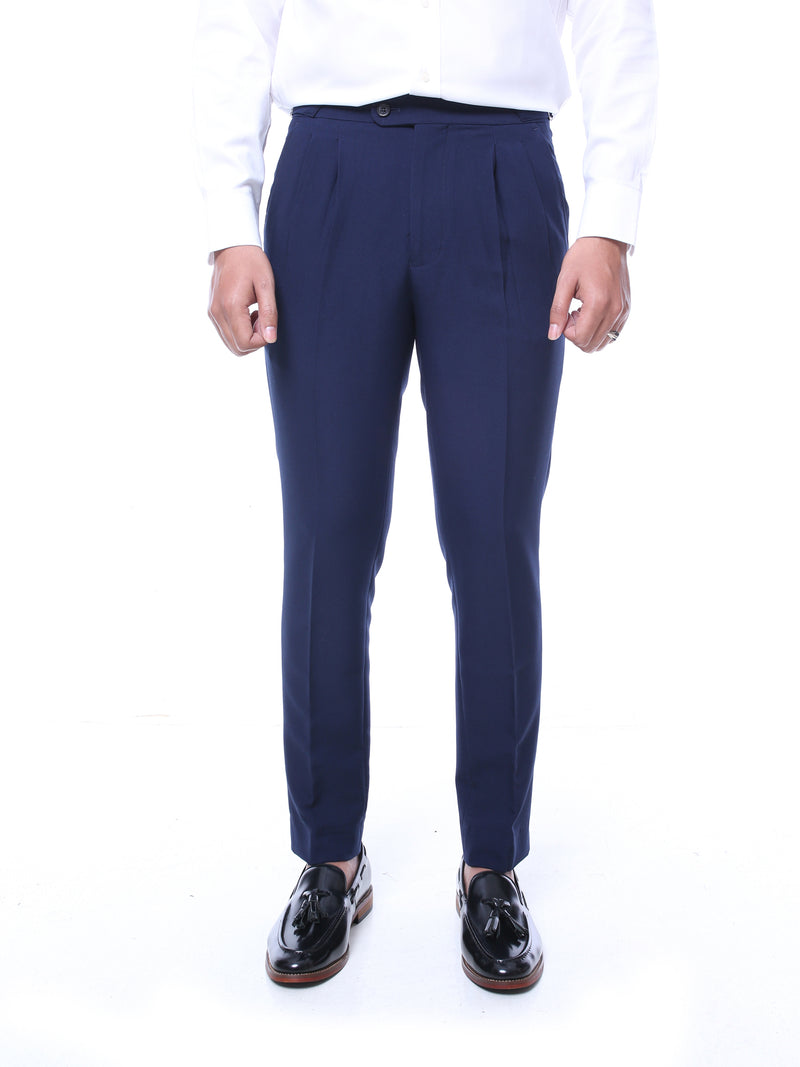 Trousers With Side Adjusters - Navy Blue Plain (Stretchable)