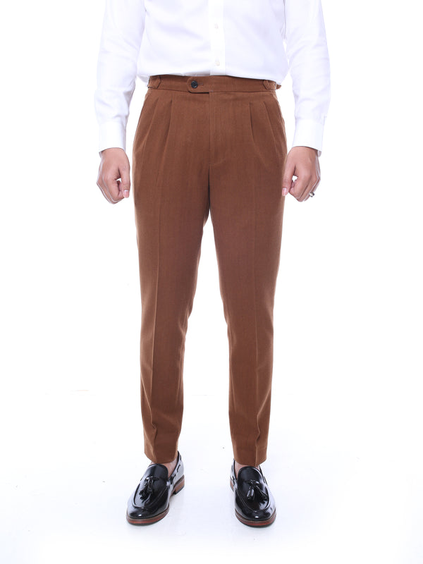 Trousers With Side Adjusters - Cinnamon Textured Plain  (Stretchable)