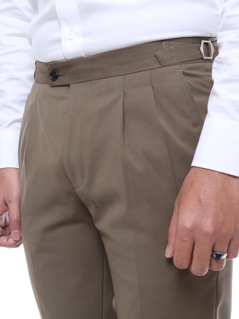 Trousers With Side Adjusters - Olive Green Plain (Stretchable)