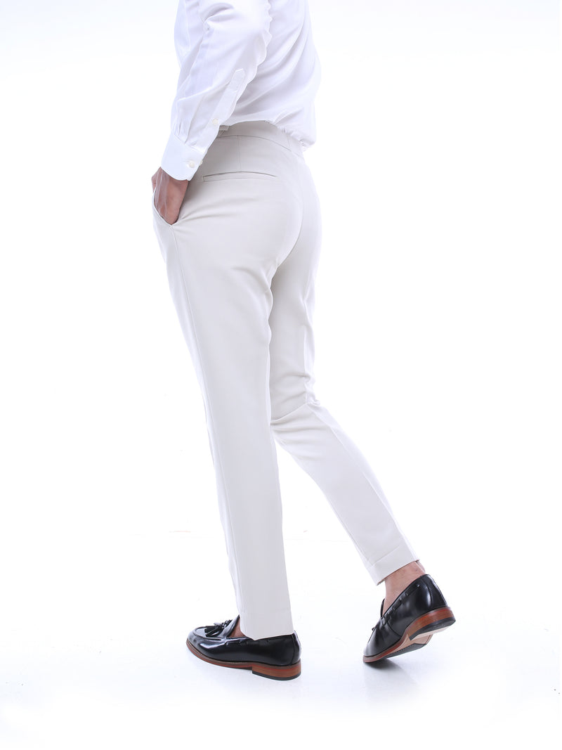 Trousers With Side Adjusters - Sand White Plain (Stretchable)