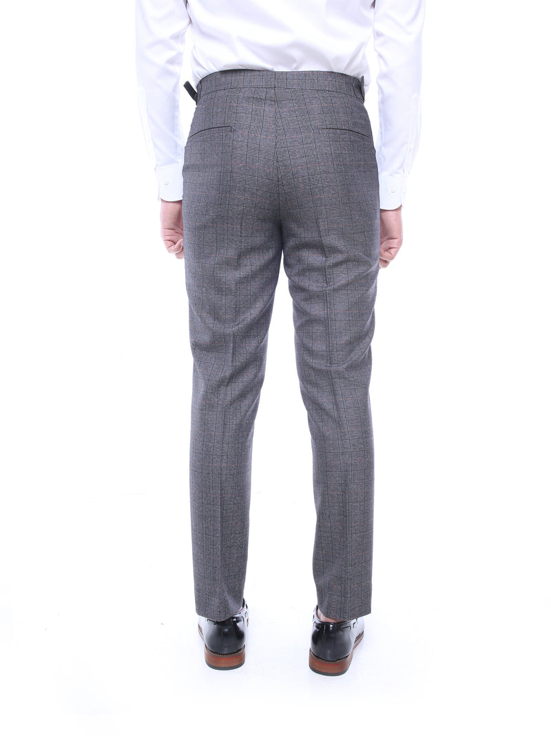 Trousers With Side Adjusters - Dark Grey Classic Checkered