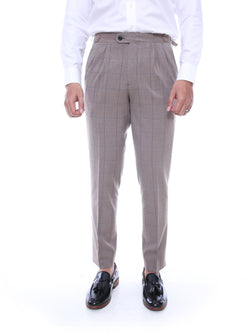 Trousers With Side Adjusters - Light Brown Checkered Thin Blue Stitch (Stretchable)
