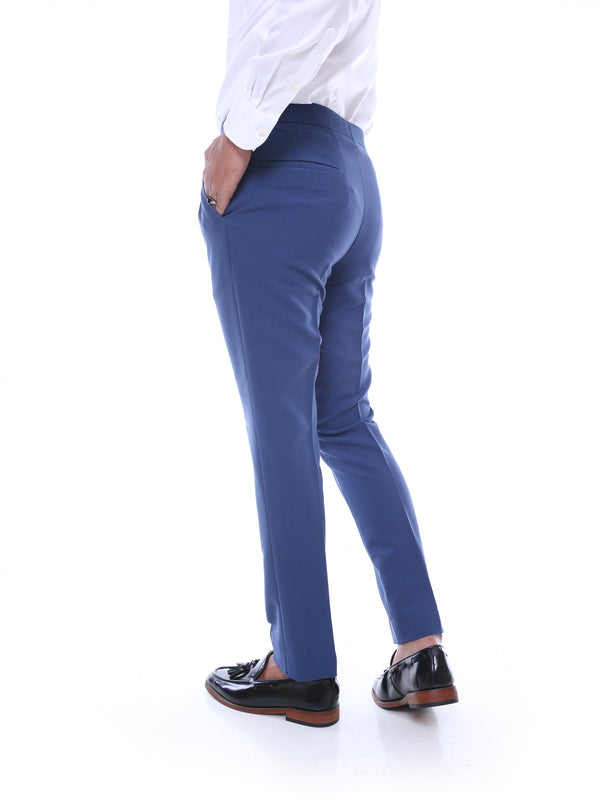 Trousers With Side Adjusters - Light Blue Plain (Stretchable)