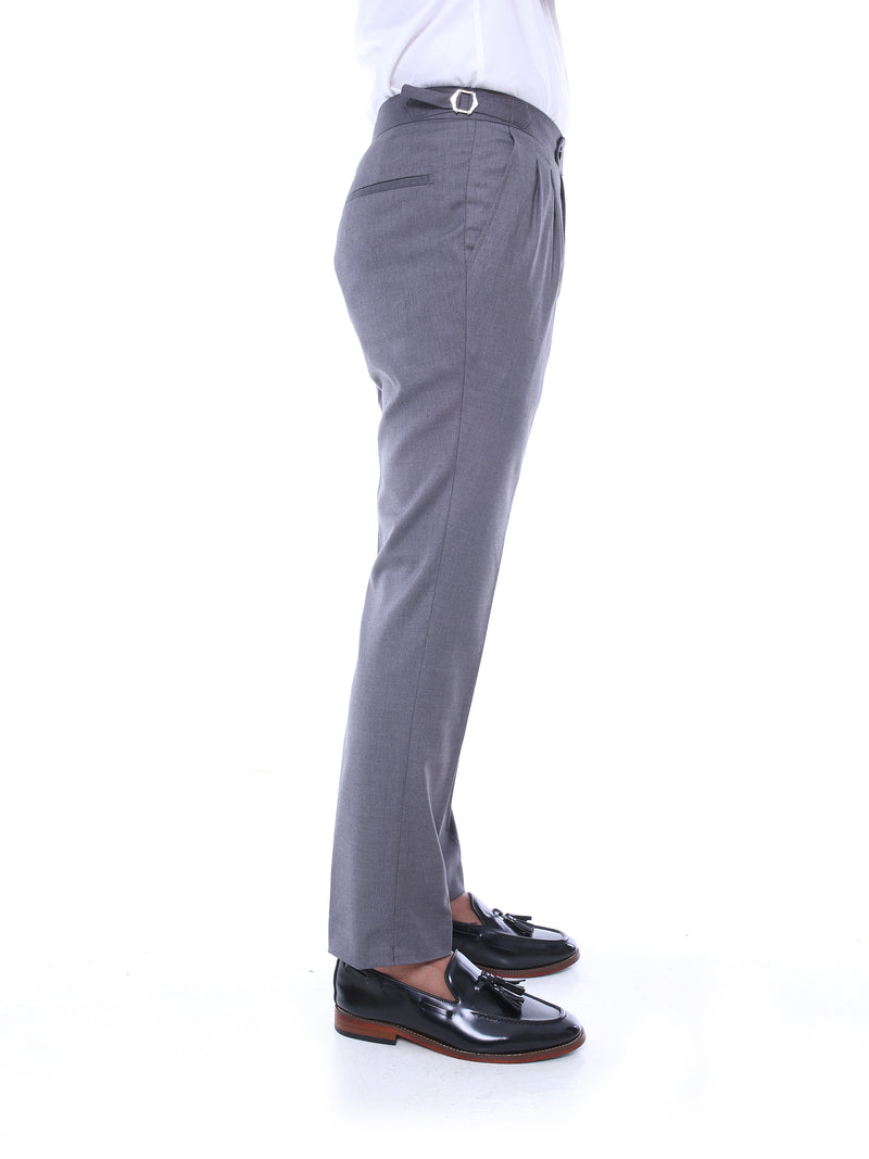 Trousers With Side Adjusters - Grey Plain (Stretchable)