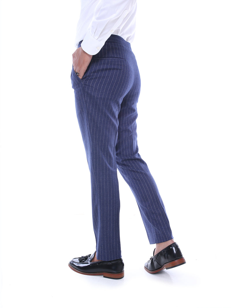 Trousers With Side Adjusters - Blue Stripes (Stretchable)
