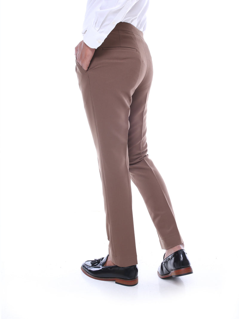 Trousers With Side Adjusters - Coffee Plain (Stretchable)
